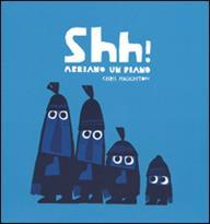 Copertina del libro abbiamo un piano, quattrobambini mascherati, disegno